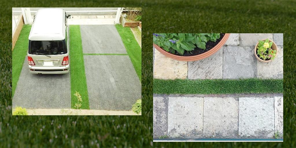 駐車場への人工芝を活用したおしゃれな例の写真