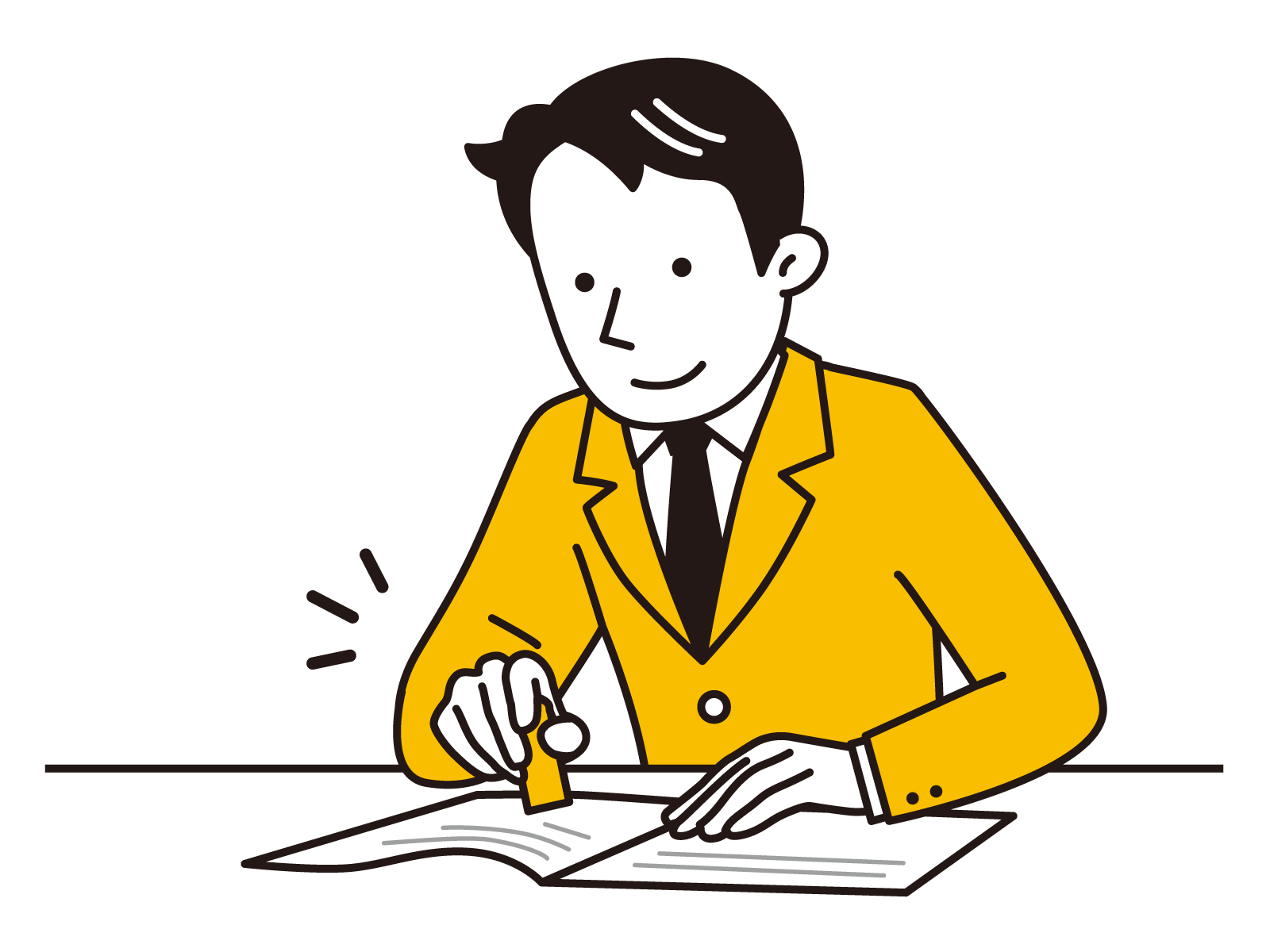 契約書に押印している男性のイラスト