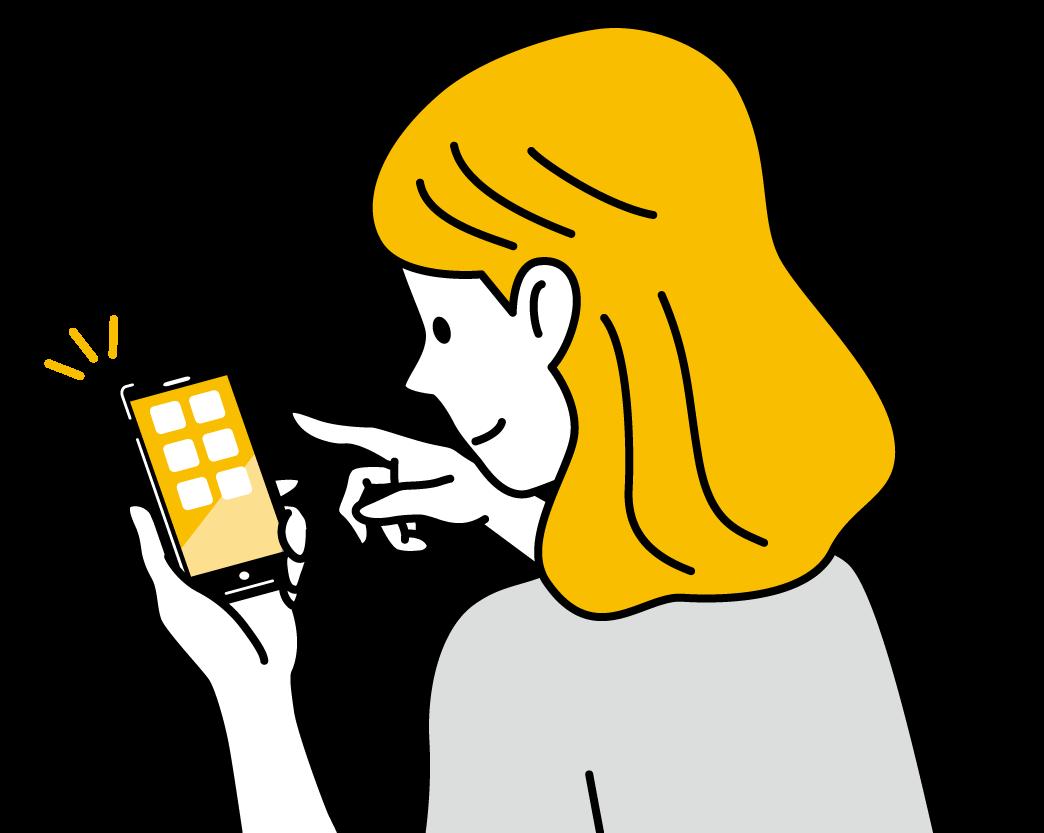 スマホで問い合わせをしようとしている女性のイラスト