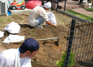 雑草を処理している施工の様子の写真